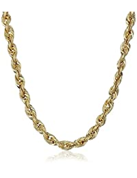 Men's 10k Yellow Gold 3mm Hollow Rope Chain Necklace