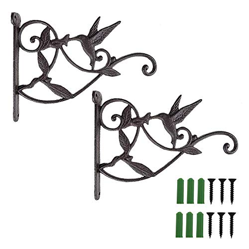 Hummingbird Metal - Hanging Plant Hook Bracket Wrought Iron Metal Hummingbird Hanger Holder for Flower Basket Planter Bird Feeder Windchimes Wood Fence Posts Black 2packs