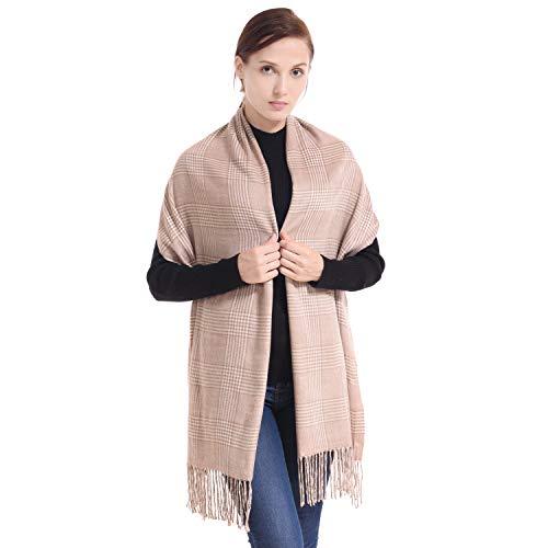LERDU Ladies Gift Idea Cashmere Tartan Pashmina Scarf Vintage Warm Wool Wrap Shawl Winter Stole for Women Silver Pink Tartan ()