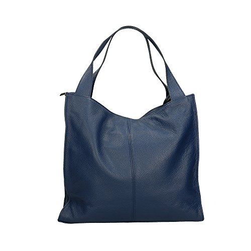 Aren Cm Genuine Shoulder Leather Bag Blue Made In Women Italy 40x36x10 zOr7wz