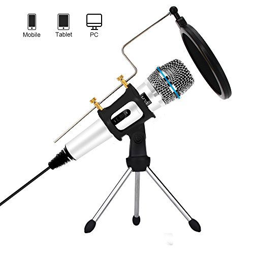 Professional Condenser Microphone Recording with Stand for PC Computer iPhone Phone Android Ipad Podcasting, Online Chatting Mini Microphones by XIAOKOA (M30-White)