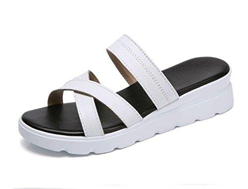 AJUNR Moda/elegante/Transpirable/Sandalias Bizcocho zapatos zapatos de mujer zapatillas 3cm de espesor relajante blanco 37 37