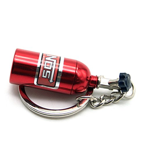 Waterwood Creative Auto Parts Models Mini Nitrous Oxide Bottle Keychain Key Chain Ring-Red