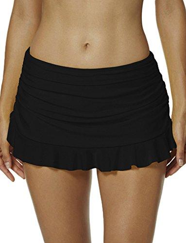 Womens Bikini Skirted Swim Bottom Ruffled Hem Swimming Sk...