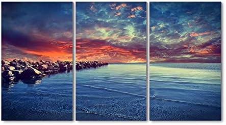 40x50CM X3枚 アートパネル 完成品( 岩と夕日の海岸 ) モダン 特大 写真 アートフレーム 絵画 壁飾り キャンバス絵画 パネル装飾画(木枠付きの完成品)