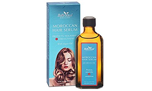 Belle Azul Moroccan Hair Serum - Nourishing, Conditioning and Frizz Control Serum. Sulfate & Paraben Free with Organic Argan Oil. 100 ml / 3.38 oz.