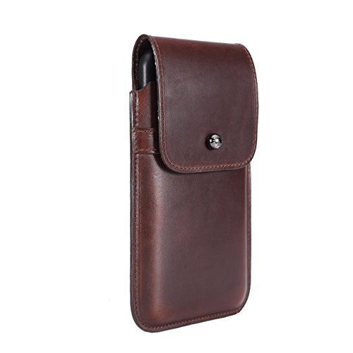Limited Edition: Blacksmith-Labs Barrett Mezzano 2017 Premium Leather Swivel Belt Clip Holster for Apple iPhone 7 Plus for use with Apple Leather Case - Horween Chromexcel Havana Brown/Gunmetal by Blacksmith-Labs