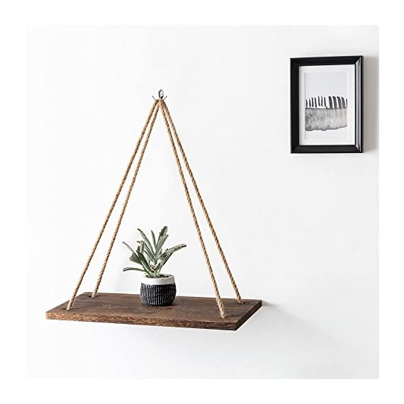 Mkono Boho Wall Hanging Shelf, Set of 2 Wood Floating Shelves for Wall Rustic Rope Shelves Plant Shelf Farmhouse Decor for Living Room Bathroom Bedroom Kitchen Apartment - ✔ Home decor & organizer- Set of 2 wood hanging shelves are the perfect piece for any rustic, modern, or natural home decor. Hung with natural jute, they have a unique, rustic charm. They allow to better organize spaces and to put all sorts of things on display. They are perfect choice for adding additional shelving space for collectibles, plants, crafts, photos and more. Their simplicity makes them versatile! ✔ Premium quality wall shelves- Made of paulownia wood, jute rope,The wood board is under anti-mildew treatment so it can not be moldy.Perfect for displaying potted plants, family photos, collectibles and so much more. The props in the picture are not included. ✔ multipurpose floating shelves- Rope hanging shelves are great wood wall decor for your kitchen dining room, living room, bedroom, farmhouse, apartment, dorm room, or office. Alternatively, they can be hung on the wall, in front of a window, on the window or on a terrace, indoor or outdoor. - wall-shelves, living-room-furniture, living-room - 41aYuXuNjDL. SS570  -