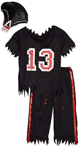 Dark Helmet Halloween Costumes (Smiffy's Men's High School Horror American Footballer Costume, Top, pants and Helmet, High School Horror, Halloween, Size L, 32908)