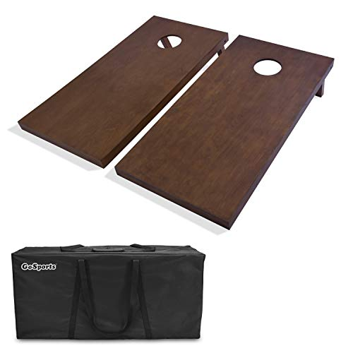 GoSports Stained Regulation Size Wooden Cornhole Set with Dark Brown Varnish | Includes Carrying - Solid Stained Wood