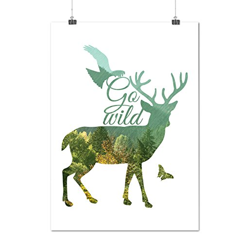 Deer Eagle Animal Nature Free Forest Matte Glossy Poster A2  17X24 Inches    Wellcoda