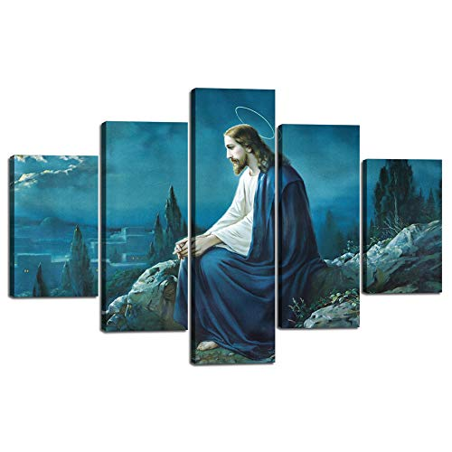 - Large Wall Art Canvas Painting for Living Room 5 Pieces The Prayer of Jesus in the Gethsemane Garden picture Prints Poster Artwork Home Decoration Stretched and Framed Ready to Hang (60
