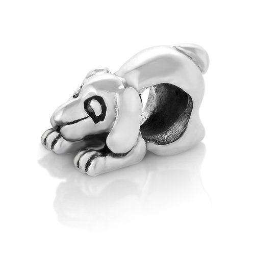 925 Sterling Silver Beagle Dog Puppy Bead Charm