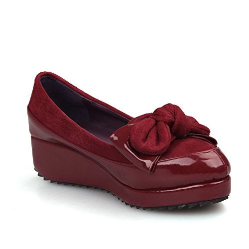 AmoonyFashion Womens Closed Round Toe Low Heel Patent Leather Micro Fiber Solid Pumps with Bowknot Red QYWAT676