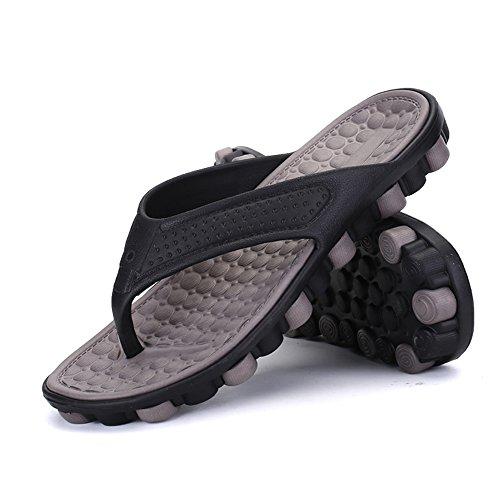 Männer Bequemer Gummi Duschstrand Flip Flop Schuh der Beleg Sandale Pantoffel Braun auf tqwwrBI47x