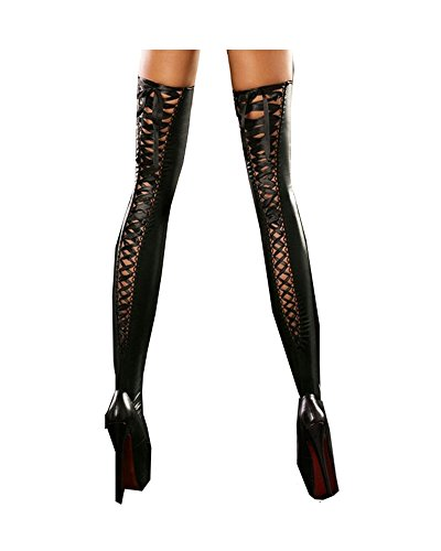Fashion Queen 3 Colors Sexy Women's Faux Leather Thigh Highs Stockings Lace-up Back (One Size, Black) -