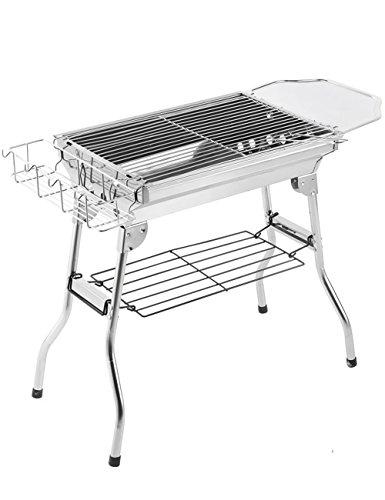 Menschwear 19'' Stainless Steel Foldable Charcoal Grills Outdoor Portable Thickened BBQ Camping Grills 50cm by Menschwear