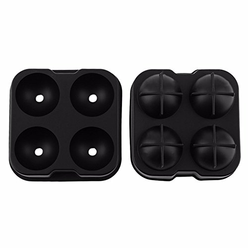 SuperStores 2017 Whiskey Cocktail Ice Cube Tray 4 Large Mold Food Safe Silicone Ice Ball Maker Large Ice jelly Cube Molds Maker For (Homemade Ice Cream Cone Costume)