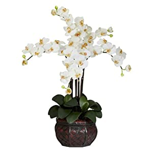 Nearly Natural Phalaenopsis with Decorative Vase Silk Flower Arrangement - Beauty 27