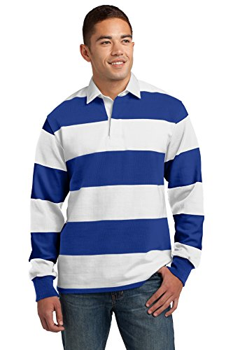 Sport-Tek Classic Long Sleeve Rugby Polo. ST301 True Royal/ White (Stripe True Blues Shirt)