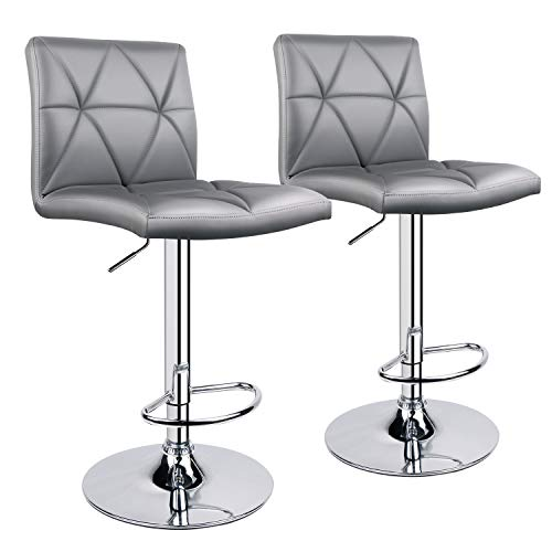 Leader Accessories Bar Stool, Hydraulic Square Back Diagonal Line Adjustable Bar Stools, Set of 2 (Light Grey)