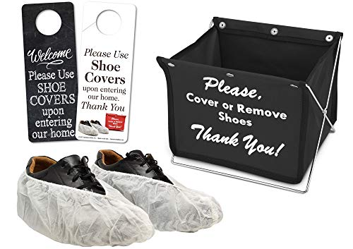 Shoe Cover Kit (20 Pair of White Shoe Covers, 1 Foldable Shoe Cover Holder PLUS a