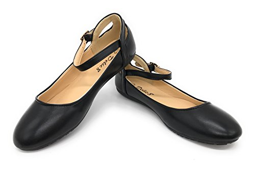 Blaue Berry EASY21 Frauen Casual Flats Ballett Knöchelriemen Mode Schuhe Schwarz T77