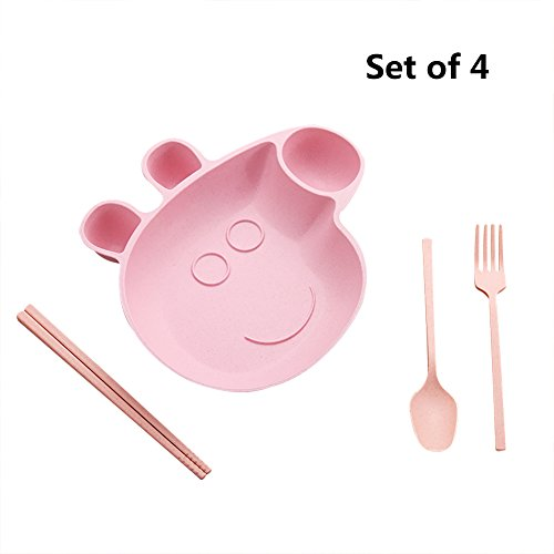 Cartoon Peppa Pig Wheat Straw Plates Dishes Set of 4 Including Plate Spoon Fork Chopsticks for Food Snacks Fruits Non-toxic Healthy Eco-Friendly for Kids (Pink) -