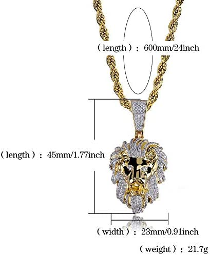 Moca Jewellery Hip Hop Animal Lion Iced Out Pendant Fully Simulated Diamond Chain 18K Gold Plated Necklace for Men