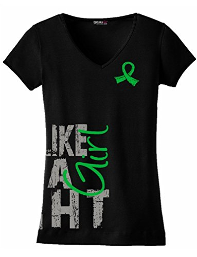 Fight Like a Girl Side Wrap Kidney Disease, Cerebral Palsy, TBI Awareness Ladies V-Neck T-Shirt - Black w/Green [XL]