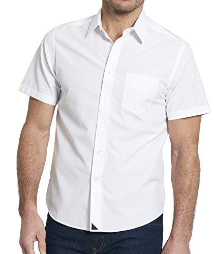 UNTUCKit LA Sierra - Wrinkle Free Men's Button Down Shirt, Solid White Poplin, 100% Cotton, XX-Large Slim Fit