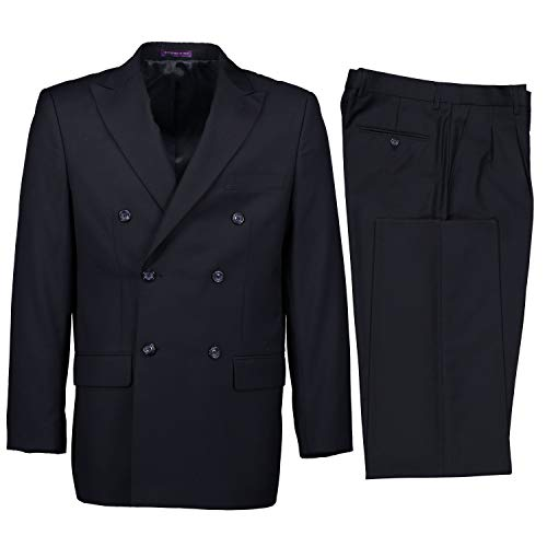- VINCI Men's Premium Solid Double Breasted 6 Button Classic Fit Suit Navy Blue | Size: 42 Regular / 36 Waist