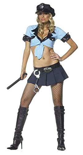GTH Women's Officer Frisk Me Police Girl Outfit Fancy Dress Sexy Costume, M/L (8-14) (Sexy Disney Villains)