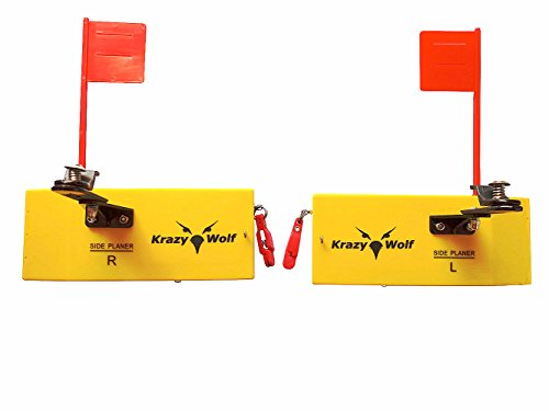 Krazywolf Planer Board (P009),Includes Spring Flag System,Left&Right L8 xW3,Pair,Yellow