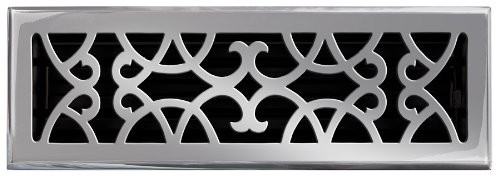 Brass Elegans 120F PWT Solid Cast Brass Victorian 4-Inch by 14-Inch Floor Register, Pewter Finish Model