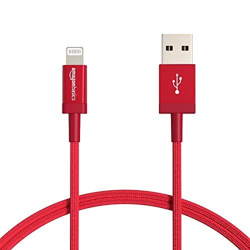 AmazonBasics Nylon Braided Lightning to USB Cable - MFi Certified Apple iPhone Charger, Red, 3-Foot (Durability Rated 4,000 Bends)