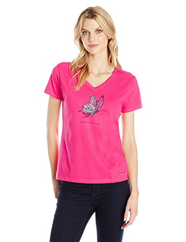 Life is good Women's Crusher Vee Good Vibes Butterfly Tee, Pop Pink, Large