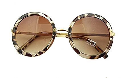 b34a37404cb Image Unavailable. Image not available for. Color  Mei Kaidi Leopard  Sunglasses Lovely Big Round Glasses ...