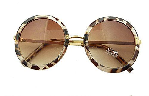 Leopard Sunglasses Lovely Big Round Glasses Prince Mirror Round Frame - Lovely Sunglasses