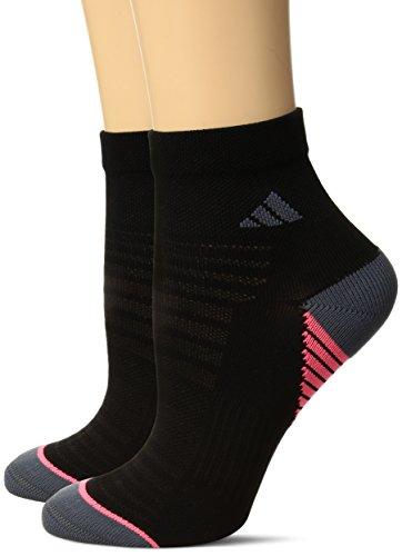 adidas Women's Superlite Speed Mesh Quarter Socks (2 Pack), Black/Onyx/Flash Red, Medium