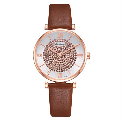 Fashion Circle Brick Stone Dial Roman Digital Scale Belt Quartz Female Wrist Classics Gifts Strap Vintage Ladies Women - Circle Quartz Link