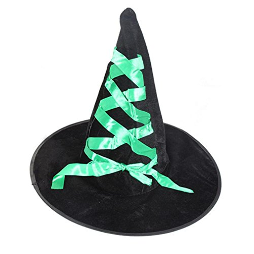 [AMA(TM) Adult Women Halloween Witch Hat Funny Diversity Fancy Ball Mask (Green)] (Adult Witch Mask With Hat And Hair)