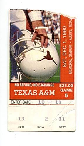 1990 Texas Longhorns v Texas A&M Aggies Football Ticket 12/1 44531RG