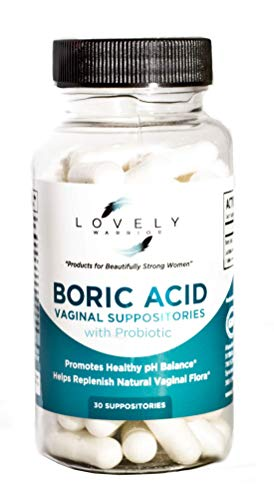 Lovely Warrior - Boric Acid Probiotic Feminine Health Support Supplement for Women, 30 Antifungal Vaginal Suppositories, Made in USA