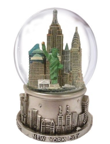 New York City Silver with Color Snow Globe 3.5 Inches Tall