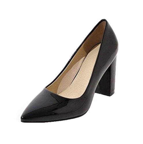 Odomolor Women's Solid Patent Leather High-Heels Pull-On Closed-Toe Pumps-Shoes Black Q5GFZN3