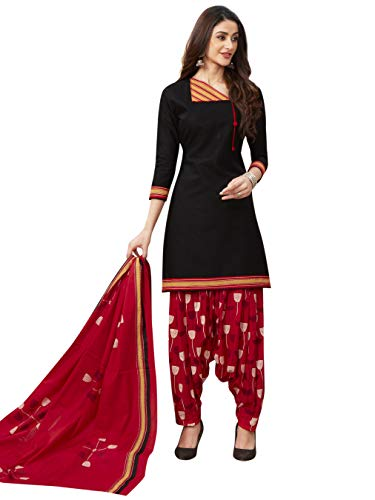Jevi Prints Women's Lawn Cotton Black & Red Block Print Dress Material with Dupatta (ND-1931_Black & Red_Free Size)