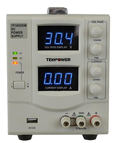 TekPower TP3005DM Linear Adjustable Digital DC Power Supply 30V 5A with a 5V/2A USB Port,Lab Grade, Super Clean and Quiet