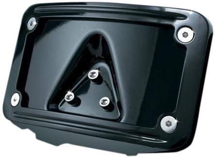 Kuryakyn 3148 Black Laydown Curved License Plate Frame Curved Laydown License Plate Mount