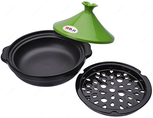 M.V. Trading Tagine Cooking for Cooktop or Oven, 1 Quarts (1000ml), 6 Inches (15 cm) 3 Generous rim allows for a secure grip during transport Cone-shaped lid forms an excellent seal to keep moisture and heat inside This Moroccan Tagine made with quality and colorful stoneware